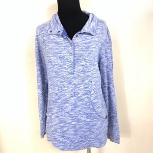 LUCY BLUE SPACE DYE PULLOVER TOP SIZE MEDIUM